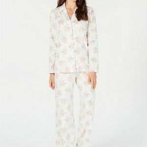 Charter Club Printed Fleece Notched Collar Pajama